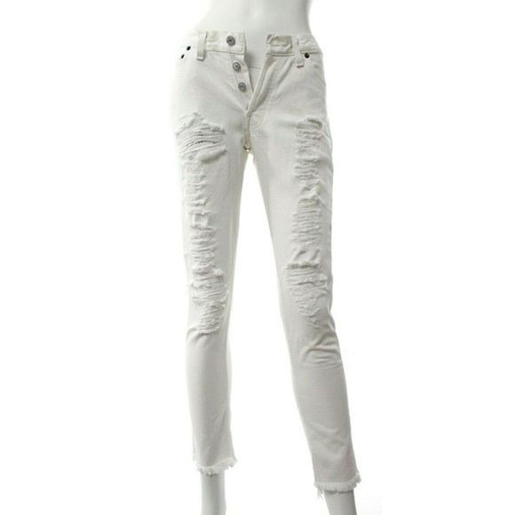 Re/Done Denim - Re/Done Levi's White Distressed Skinny Jeans